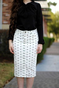 Denise Premium Denim Skirt - Polka Dot - IN STOCK