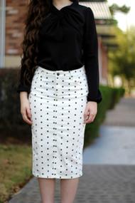 Denise Premium Denim Skirt - Polka Dot - IN STOCK