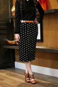 Janelle Premium Denim Skirt - Polka Dot - SAMPLE - MEDIUM