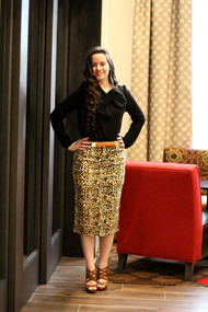 Aleah Premium Denim Skirt - Leopard - SAMPLE - LARGE