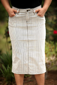 Kate Premium Denim Skirt - Stripe - SAMPLE - MEDIUM and LARGE