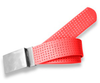 Perforated Belt Basic Plain Buckle Stop Sign Red