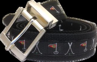 Web Belt Black Golf Motif