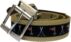 Web Belt Khaki Golf Motif