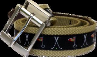 Web Belt Khaki Golf Motif