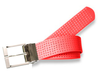 Perforated Belt Basic Prong Buckle Stop Sign Red
