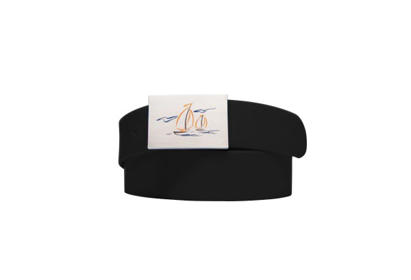 Solid Belt Sailboat Logo Coal Black