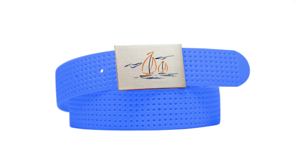 Perforated Belt Sailboat Logo Royal Blue