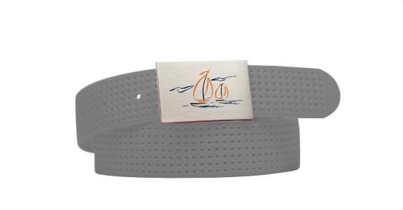 Perforated Belt Sailboat Logo Grey