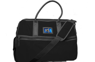 Clearance- Tote Black/Black w/Blue Metal Plate and Black Jumper logo