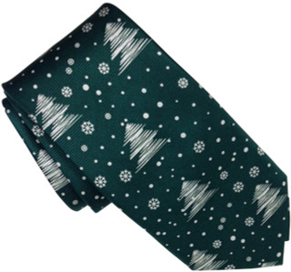 Christmas Holiday motif 100% Silk Tie Green