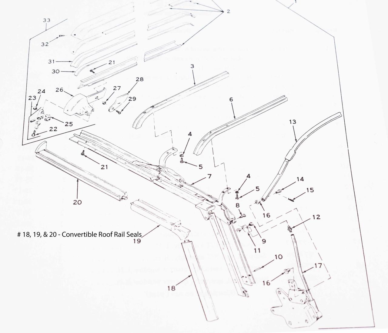 per foot Convertible Roof Rail Weatherstrip, 1967-1973