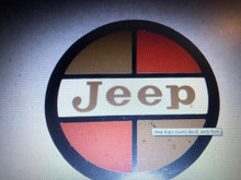 Jeep logo round decal, early font