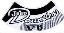 Decal sticker 70-71, CJ  Air Cleaner