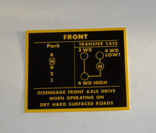 Decal sticker Transfer Case Selector pattern