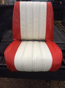 verticle pleat leather seats customer supplied material.