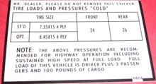 tire pressure sticker glove box jeepster commando jeep commando
