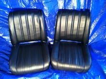 Black Vertical Pleated Single Seat.