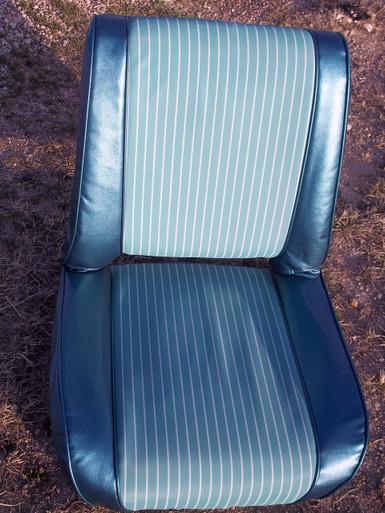 Aqua White Pin Striped Pleated Front Seat