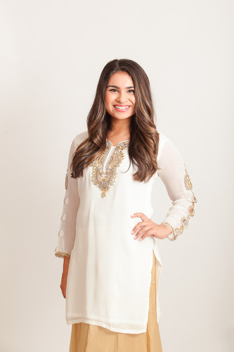 Off white kurti with embroidered sleeves