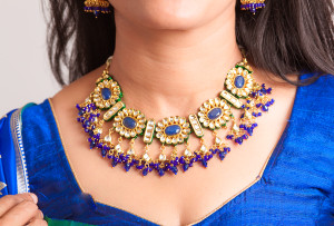 Blue kundan necklace set