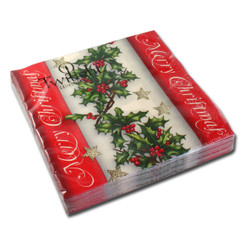 Holly Border Luncheon Napkin