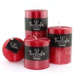"3"" Silky Metallic Pillars - Cranberry"