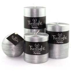 "3"" Silky Metallic Pillars - Silver"