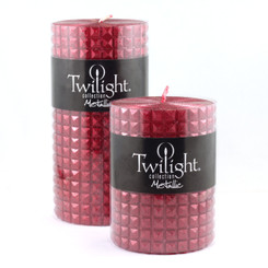 "3"" Pyramid Metallic Pillar - Cranberry"
