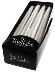 White Metallic Taper | 12 Pack