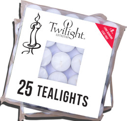 8 Hr. Unscented Standard Tealights - 25 bag