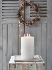 "5.5"" Giant Three Wick Rustic Pillars - White"