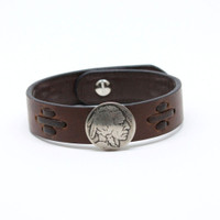 Torino Leather - Buffalo Nickel Bracelet