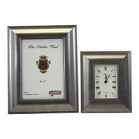 F. G. Galassi Silver Picture Frame and Alarm Clock