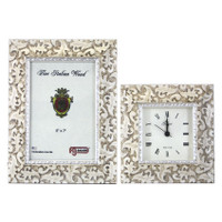 F. G. Galassi Shabby Chic Picture Frame and Alarm Clock