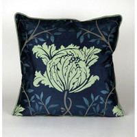 Blue Silk Floral Pillow