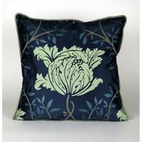 Blue Silk Floral Pillow