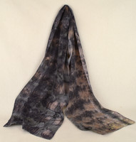 Ayn Hanna Hand Painted Silk Crepe de Chine Scarf - Eco Cool