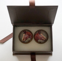 Rebecca Ray Cufflinks  - Brown Horse Rosette