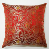 Deborah Main Design - Red and Gold Peacock Silk Brocade Pillow