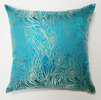 Deborah Main Design - Aqua and Silver Peacock Silk Brocade Pillow