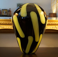 Murano Glass - Black and Yellow  Vase