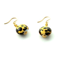 Murano Glass Safari Jaguar Earrings