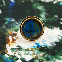 "Antique Gold Ring - ""Azul"""