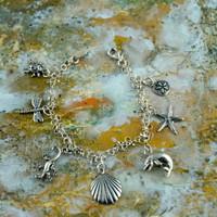 "Sterling Silver Charm Bracelet - ""Nature"""