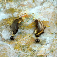 Natural Shell Earrings with Brown Pearls