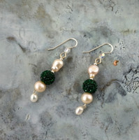 """Elegante"" Crystal and Pearl Drop Earrings"