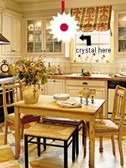 Cure for small Kitchens- Hang a Crystal ball in the center....