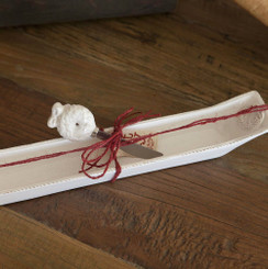 Deck The Halls Y'all- Christmas on the Farm Ceramic Cracker Boat With Spreader