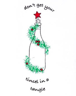 """Cork Pops  """"Don't Get Your Tinsel in a Tangle"""" Holiday Dish Towels"""
